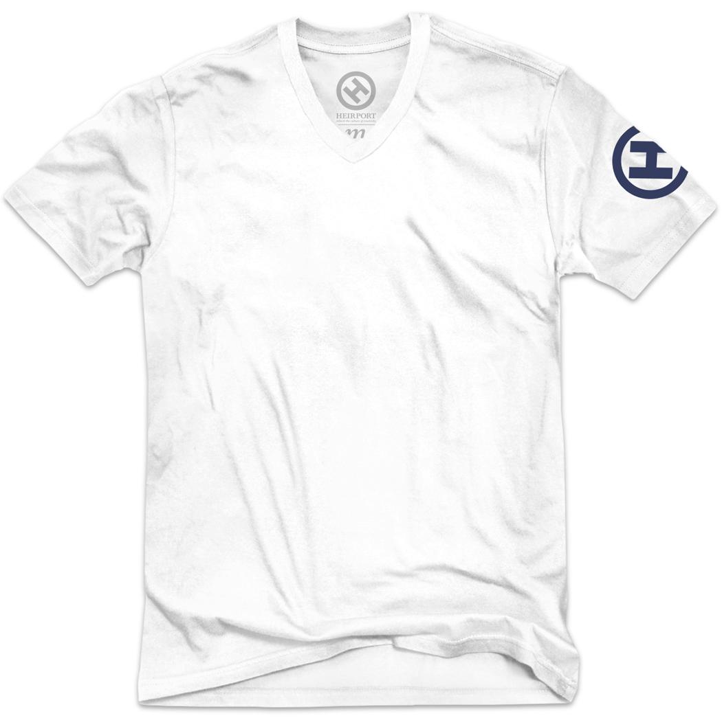 Velour h v neck t shirt white navy heirport apparel for V neck white t shirts for men