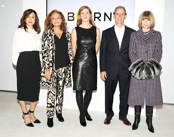 From left to right: President of Amazon Fashion Cathy Beaudoin, Diane von Furstenberg, US Ambassador to the United Nations Samantha Power, CEO OF BORNFREE John Megrue and Anna Wintour at the Press Announcement event for the BORNFREE campaign. Credit Business Wire.